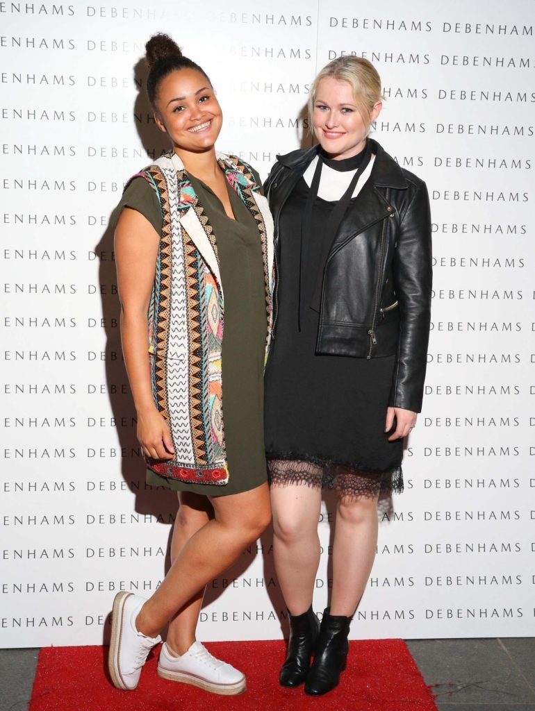 Pictured are Claudia Gocoul and Lorna Weightman as Debenhams showcased their AW16 collection last night in the stunning back drop of Christ Church Catherdral. Guests sipped on Mc Guigan Frizzante as 1st Options Model took to the Crypt catwalk for a show styled by top stylist Sonja Mohlich. Pic: Marc O'Sullivan