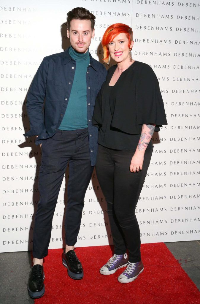 Pictured are Brian Conway and Ciara Allen as Debenhams showcased their AW16 collection last night in the stunning back drop of Christ Church Catherdral. Guests sipped on Mc Guigan Frizzante as 1st Options Model took to the Crypt catwalk for a show styled by top stylist Sonja Mohlich. Pic: Marc O'Sullivan