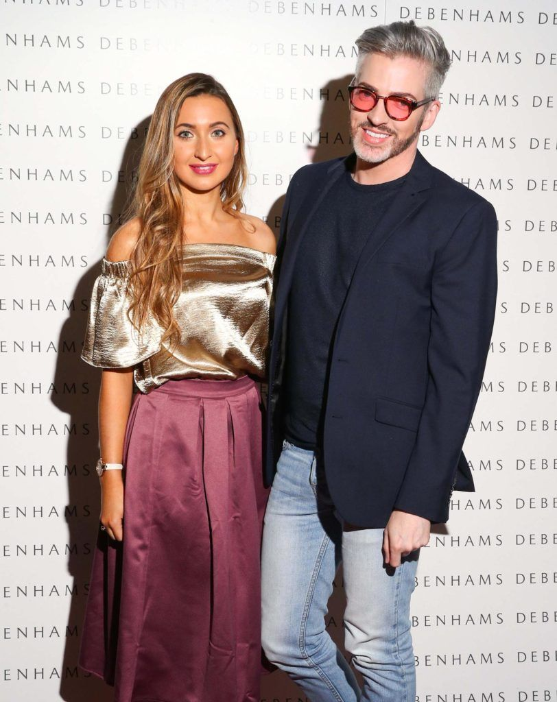 Pictured are Nicky Dunne and Dillon St.Paul as Debenhams showcased their AW16 collection last night in the stunning back drop of Christ Church Catherdral. Guests sipped on Mc Guigan Frizzante as 1st Options Model took to the Crypt catwalk for a show styled by top stylist Sonja Mohlich. Pic: Marc O'Sullivan