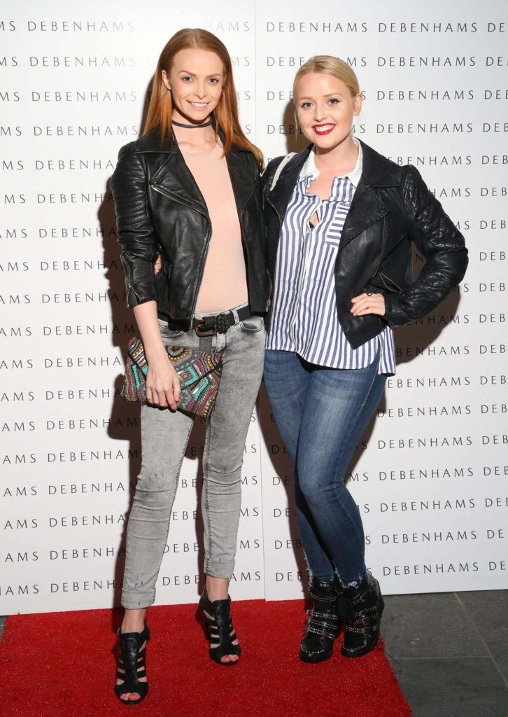 Pictured are Aoife Walsh and Laura Mullett as Debenhams showcased their AW16 collection last night in the stunning back drop of Christ Church Catherdral. Guests sipped on Mc Guigan Frizzante as 1st Options Model took to the Crypt catwalk for a show styled by top stylist Sonja Mohlich. Pic: Marc O'Sullivan