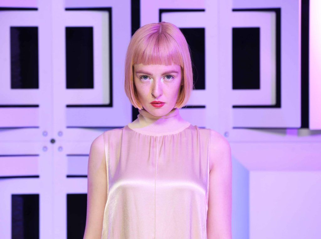Pictured is the winning hairstyle of the Peter Mark Colour Trophy 2016, as worn by model Louise Gardiner. MC for the night Brendan Courtney. Photography: Sasko Lazarov/Photocall Ireland