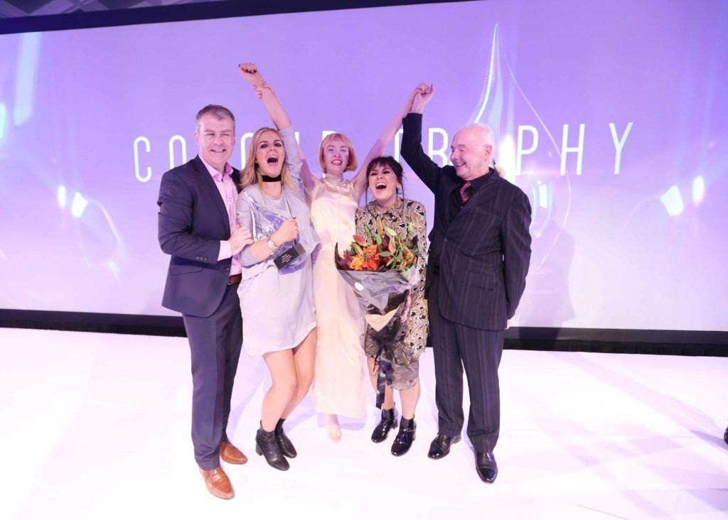 Pictured at the Peter Mark Colour Trophy 2016 are (l to r) Peter Mark CEO Peter O'Rourke, award-winner Megan Murphy, model Louise Gardiner, award-winner Nicole Murtagh and Co-Founder of Peter Mark, Mark Keaveney. MC for the night Brendan Courtney. Photography: Sasko Lazarov/Photocall Ireland