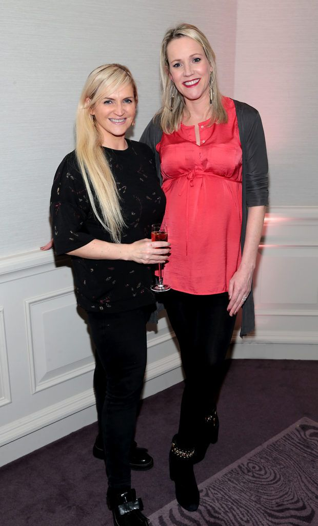 Melanie Morris and Liz  Dwyer at the Lancome Christmas Celebration at the Westbury Hotel, Dublin (Pictures: Brian McEvoy).
