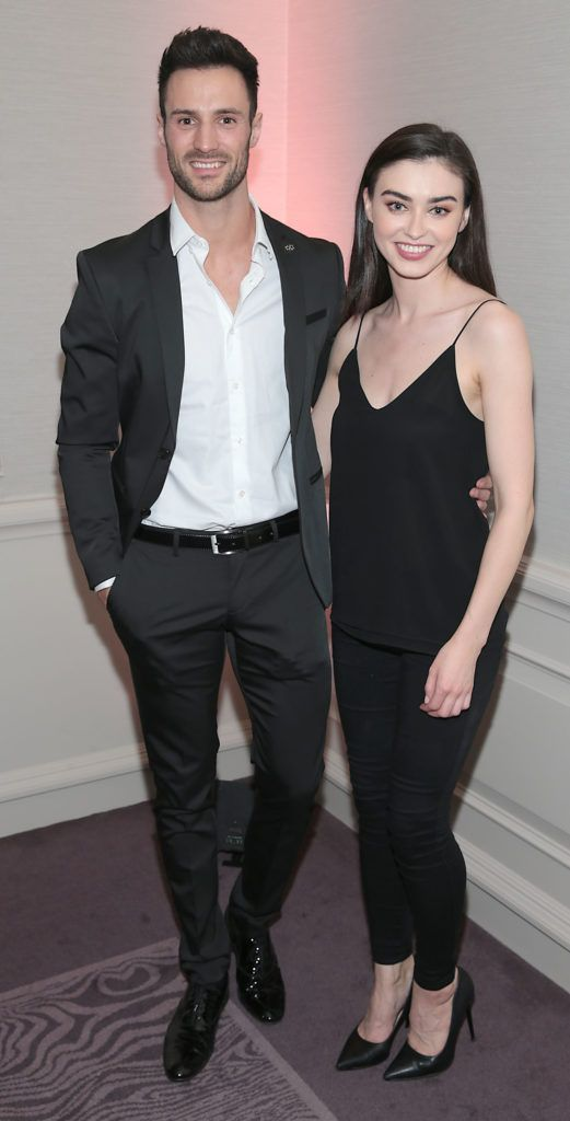 Darren King and Sarah Tansey at the Lancome Christmas Celebration at the Westbury Hotel, Dublin (Pictures: Brian McEvoy).