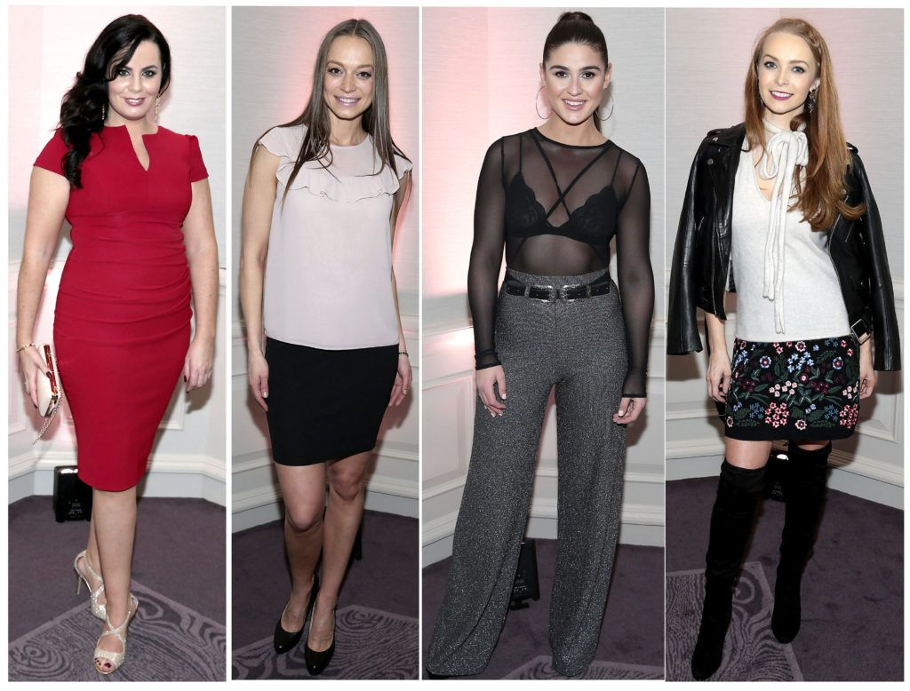 Audrey McGrath, Irma Mali, Lynne Kelly and Aoife Walsh at the Lancome Christmas Celebration at the Westbury Hotel, Dublin (Pictures: Brian McEvoy).