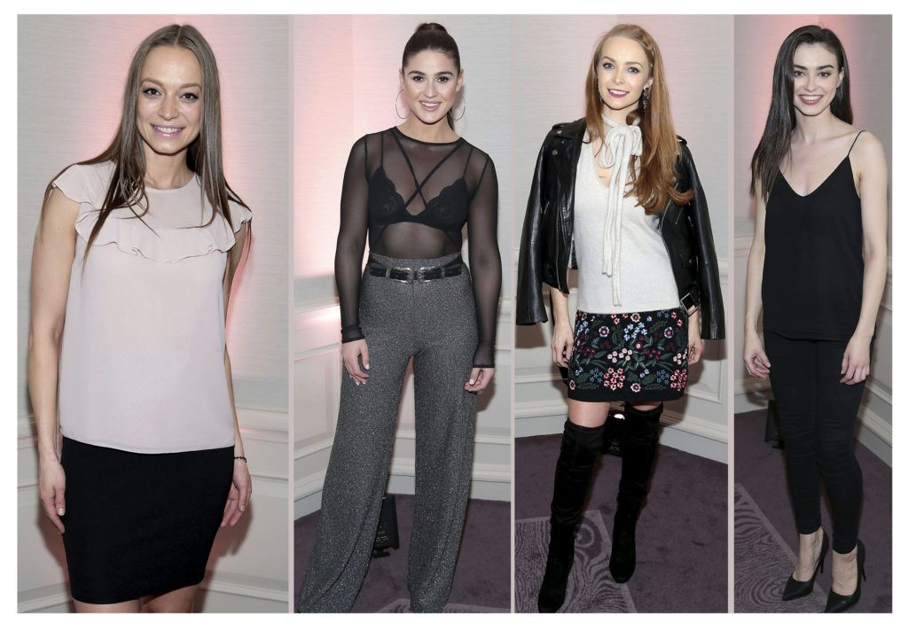 Irma Mali, Lynne Kelly and Aoife Walsh and Sarah Tansey at the Lancome Christmas Celebration at the Westbury Hotel, Dublin (Pictures: Brian McEvoy).