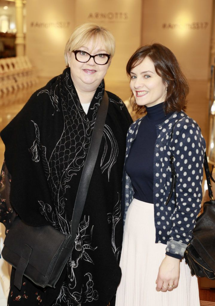 Catherine Condell and Aisling Farinella at the launch of Arnotts Spring Summer 2017 womenswear collections in the Accessories Hall at Arnotts -photo Kieran Harnett