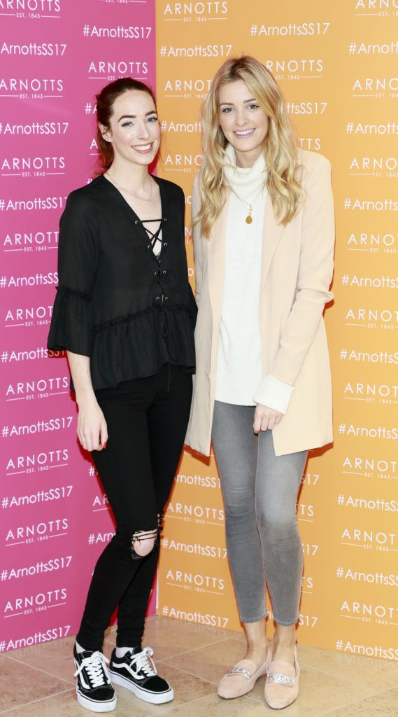 Ciara O'Doherty and Louise Cooney at the launch of Arnotts Spring Summer 2017 womenswear collections in the Accessories Hall at Arnotts -photo Kieran Harnett