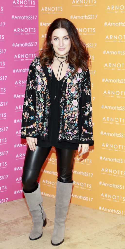 Courtney Smith at the launch of Arnotts Spring Summer 2017 womenswear collections in the Accessories Hall at Arnotts -photo Kieran Harnett