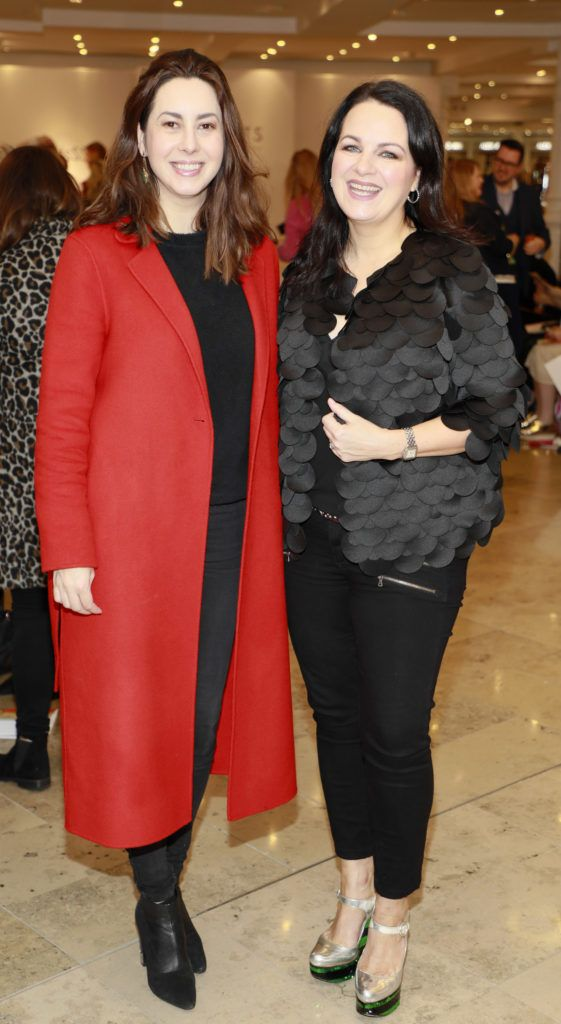 Elaine Prendeville and Triona McCarthy at the launch of Arnotts Spring Summer 2017 womenswear collections in the Accessories Hall at Arnotts -photo Kieran Harnett