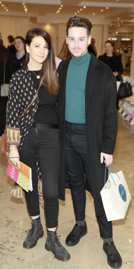 Grace Cahill and Brian Conway at the launch of Arnotts Spring Summer 2017 womenswear collections in the Accessories Hall at Arnotts -photo Kieran Harnett