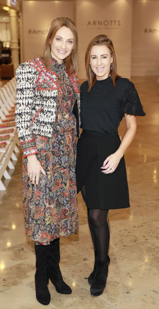 Ingrid Hoey and Clodagh Edwards at the launch of Arnotts Spring Summer 2017 womenswear collections in the Accessories Hall at Arnotts -photo Kieran Harnett