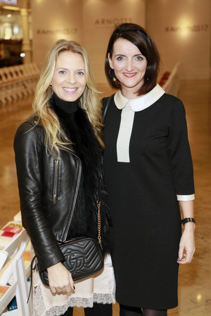 Lisa Woods and Fiona Heaney at the launch of Arnotts Spring Summer 2017 womenswear collections in the Accessories Hall at Arnotts -photo Kieran Harnett