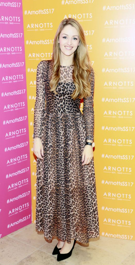 Natalie Burke at the launch of Arnotts Spring Summer 2017 womenswear collections in the Accessories Hall at Arnotts -photo Kieran Harnett
