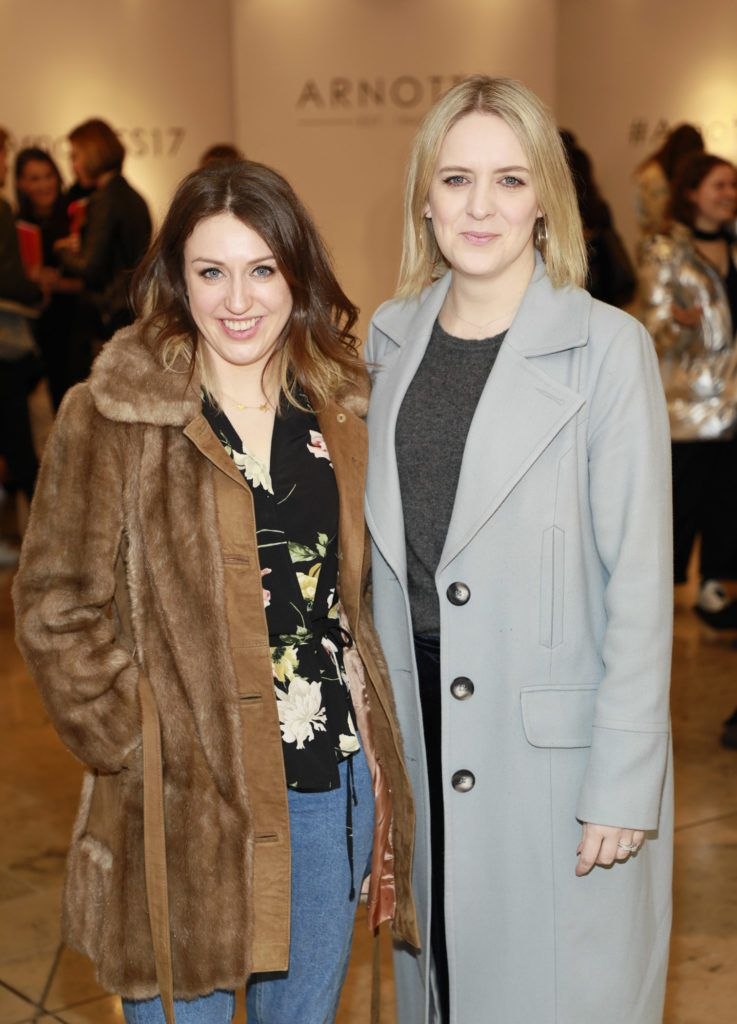 Niamh Devereux and Jen Stevens at the launch of Arnotts Spring Summer 2017 womenswear collections in the Accessories Hall at Arnotts -photo Kieran Harnett