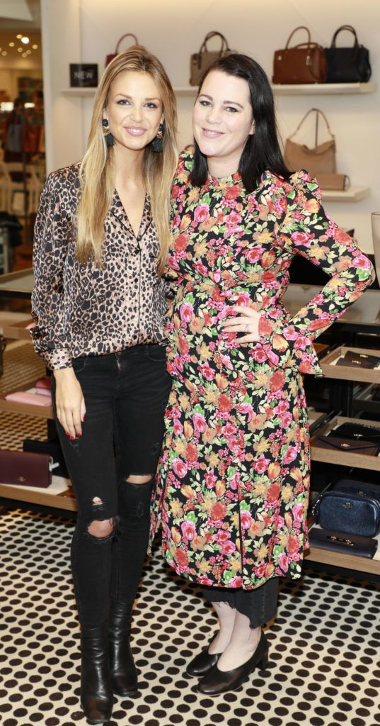 Ruth O'Neill and Corina Gaffey at the launch of Arnotts Spring Summer 2017 womenswear collections in the Accessories Hall at Arnotts -photo Kieran Harnett