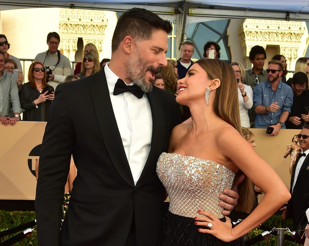 Actors Joe Manganiello and Sofia Vergara arrive for the 23rd Annual Screen Actors Guild Awards at the Shrine Exposition Center on January 29, 2017, in Los Angeles, California.     (Photo FREDERIC J. BROWN/AFP/Getty Images)