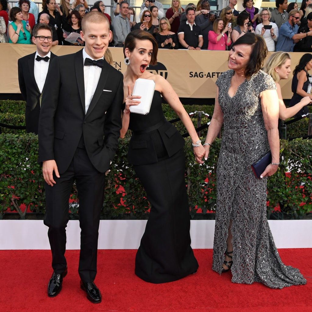 LOS ANGELES, CA - JANUARY 29:  Actors Lucas Hedges, Sarah Paulson and Marcia Clark attend The 23rd Annual Screen Actors Guild Awards at The Shrine Auditorium on January 29, 2017 in Los Angeles, California. 26592_008  (Photo by Frazer Harrison/Getty Images)