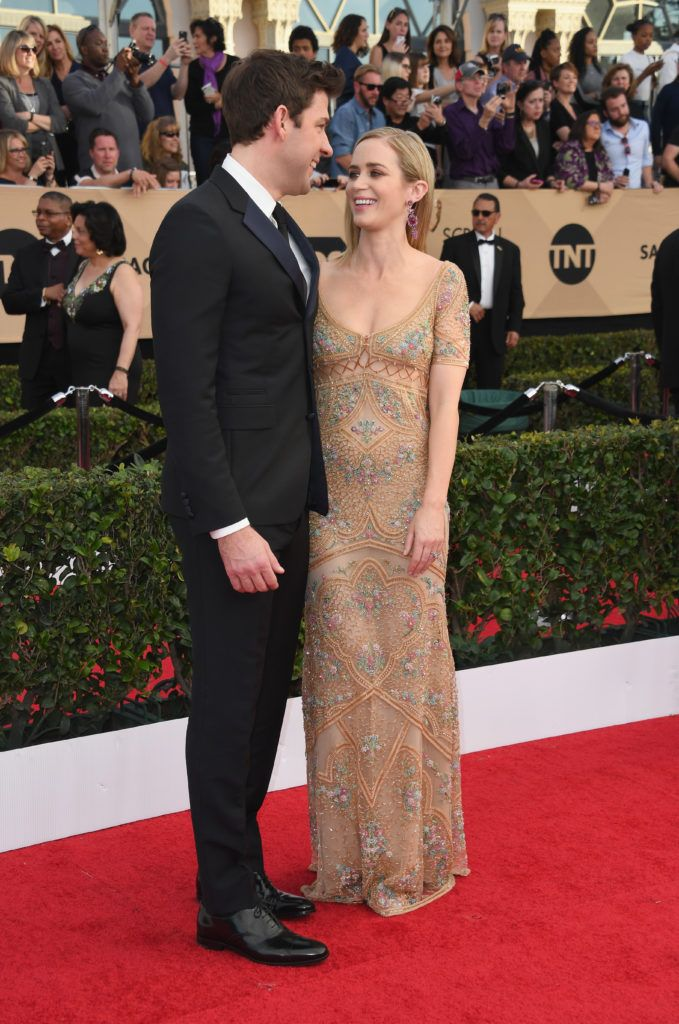 LOS ANGELES, CA - JANUARY 29:  Actors John Krasinski (L) and Emily Blunt attend the 23rd Annual Screen Actors Guild Awards at The Shrine Expo Hall on January 29, 2017 in Los Angeles, California.  (Photo by Alberto E. Rodriguez/Getty Images)