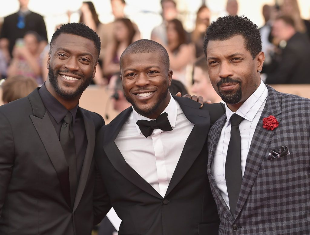 LOS ANGELES, CA - JANUARY 29:  (L-rR) Actors Aldis Hodge, Edwin Hodge and Deon Cole attend the 23rd Annual Screen Actors Guild Awards at The Shrine Expo Hall on January 29, 2017 in Los Angeles, California.  (Photo by Alberto E. Rodriguez/Getty Images)