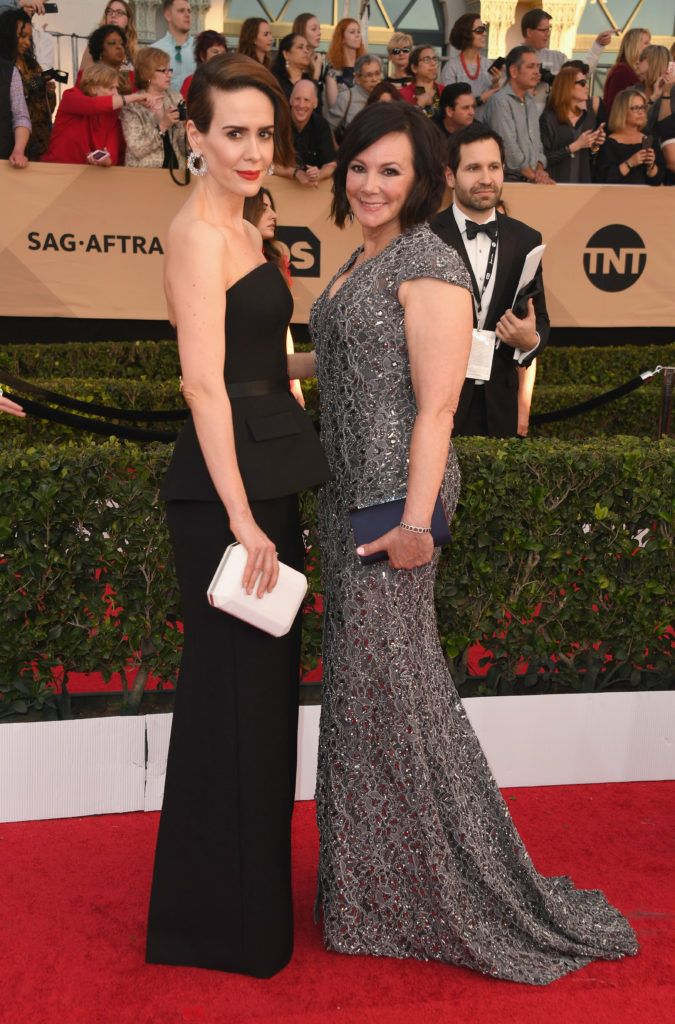 LOS ANGELES, CA - JANUARY 29:  Actor Sarah Paulson and Marcia Clark attend the 23rd Annual Screen Actors Guild Awards at The Shrine Expo Hall on January 29, 2017 in Los Angeles, California.  (Photo by Alberto E. Rodriguez/Getty Images)