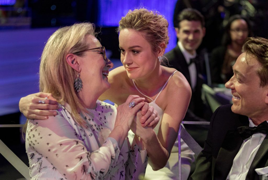 LOS ANGELES, CA - JANUARY 29:  Actors Meryl Streep (L) and Brie Larson attend The 23rd Annual Screen Actors Guild Awards at The Shrine Auditorium on January 29, 2017 in Los Angeles, California. 26592_012  (Photo by Christopher Polk/Getty Images for TNT)
