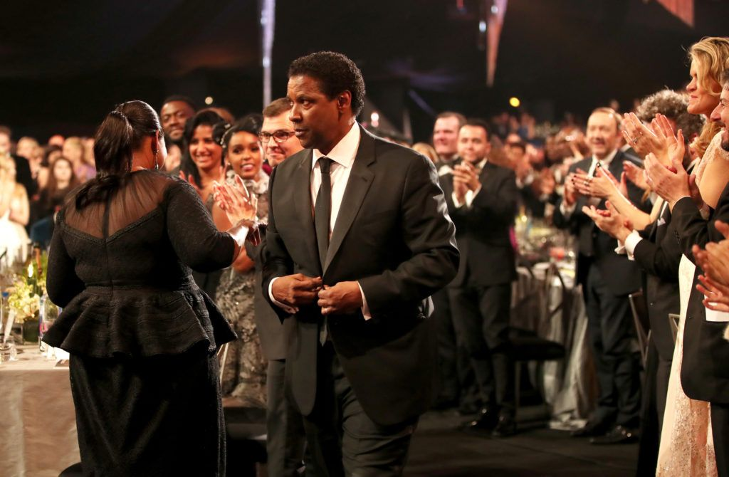 LOS ANGELES, CA - JANUARY 29:  Actor Denzel Washington, accepting the award for Male Actor in a Leading Role, during The 23rd Annual Screen Actors Guild Awards at The Shrine Auditorium on January 29, 2017 in Los Angeles, California. 26592_012  (Photo by Christopher Polk/Getty Images for TNT)