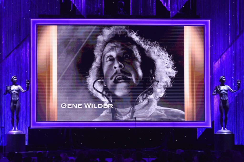 LOS ANGELES, CA - JANUARY 29:  Video tribute to the late actor Gene Wilder onstage during The 23rd Annual Screen Actors Guild Awards at The Shrine Auditorium on January 29, 2017 in Los Angeles, California. 26592_014  (Photo by Kevin Winter/Getty Images )