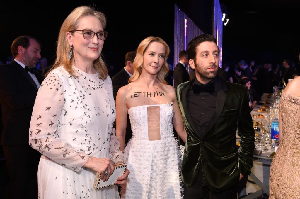 LOS ANGELES, CA - JANUARY 29:  (L-R) Actors Meryl Streep, Jocelyn Towne, and Simon Helberg attend the 23rd Annual Screen Actors Guild Awards Cocktail Reception at The Shrine Expo Hall on January 29, 2017 in Los Angeles, California.  (Photo by Kevork Djansezian/Getty Images)