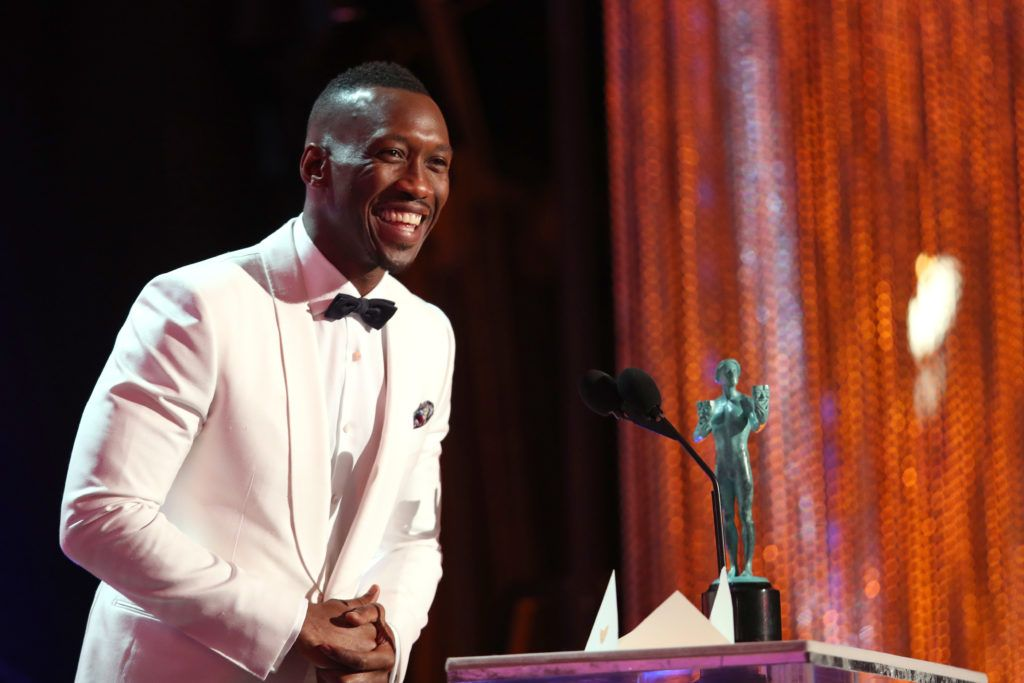 LOS ANGELES, CA - JANUARY 29: Actor Mahershala Ali, accepting the award for Male Actor in a Supporting Role, during The 23rd Annual Screen Actors Guild Awards at The Shrine Auditorium on January 29, 2017 in Los Angeles, California. 26592_012  (Photo by Christopher Polk/Getty Images for TNT)
