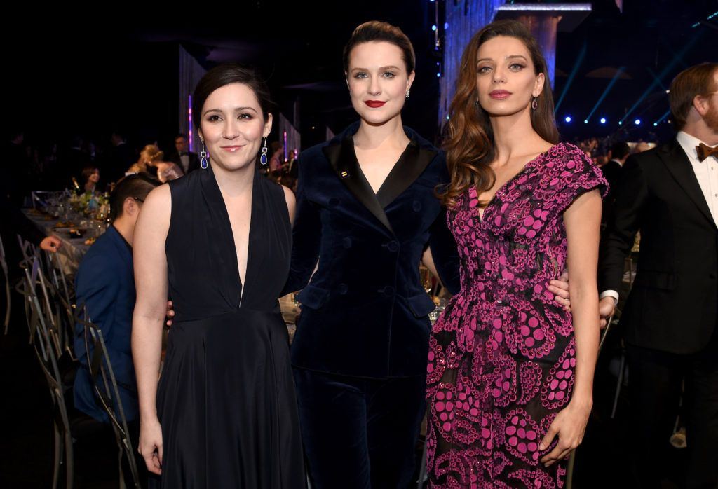 LOS ANGELES, CA - JANUARY 29: (L-R) Actors Shannon Woodward, Evan Rachel Wood, and Angela Sarafyan attend the 23rd Annual Screen Actors Guild Awards Cocktail Reception at The Shrine Expo Hall on January 29, 2017 in Los Angeles, California.  (Photo by Kevork Djansezian/Getty Images)