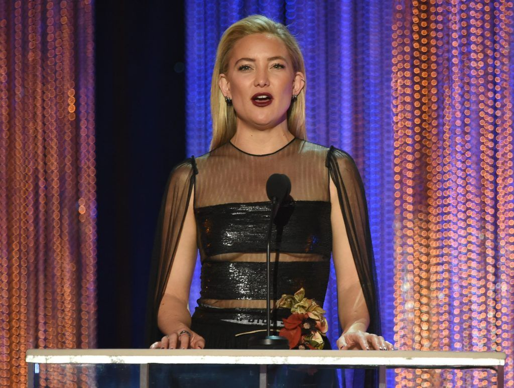 Actress kate Hudson speaks during the 23rd Annual Screen Actors Guild Awards show at The Shrine Auditorium on January 29, 2017 in Los Angeles, California.    (Photo  ROBYN BECK/AFP/Getty Images)
