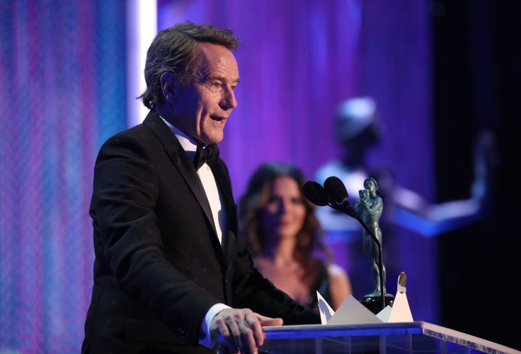LOS ANGELES, CA - JANUARY 29: Actor Bryan Cranston, accepting the award for Male Actor in a Television Movie or Limited Series, during The 23rd Annual Screen Actors Guild Awards at The Shrine Auditorium on January 29, 2017 in Los Angeles, California. 26592_012  (Photo by Christopher Polk/Getty Images for TNT)