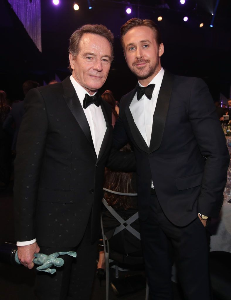 LOS ANGELES, CA - JANUARY 29: Actors Bryan Cranston, winner of the award for Male Actor in a Television Movie or Limited Series, and Ryan Gosling during The 23rd Annual Screen Actors Guild Awards at The Shrine Auditorium on January 29, 2017 in Los Angeles, California. 26592_012  (Photo by Christopher Polk/Getty Images for TNT)