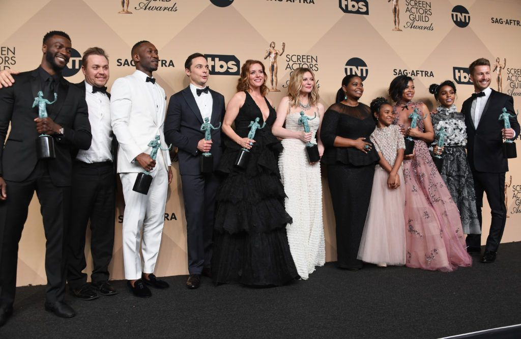 LOS ANGELES, CA - JANUARY 29:  (L-R) Actor Aldis Hodge, filmmaker Theodore Melfi, actors Mahershala Ali, Jim Parsons, Kimberly Quinn, Kirsten Dunst, Octavia Spencer, Saniyya Sidney, Taraji P. Henson, Janelle Monae, and Glen Powell, co-recipients of the Outstanding Performance by a Cast in a Motion Picture award for 'Hidden Figures,' pose in the press room during the 23rd Annual Screen Actors Guild Awards at The Shrine Expo Hall on January 29, 2017 in Los Angeles, California.  (Photo by Alberto E. Rodriguez/Getty Images)
