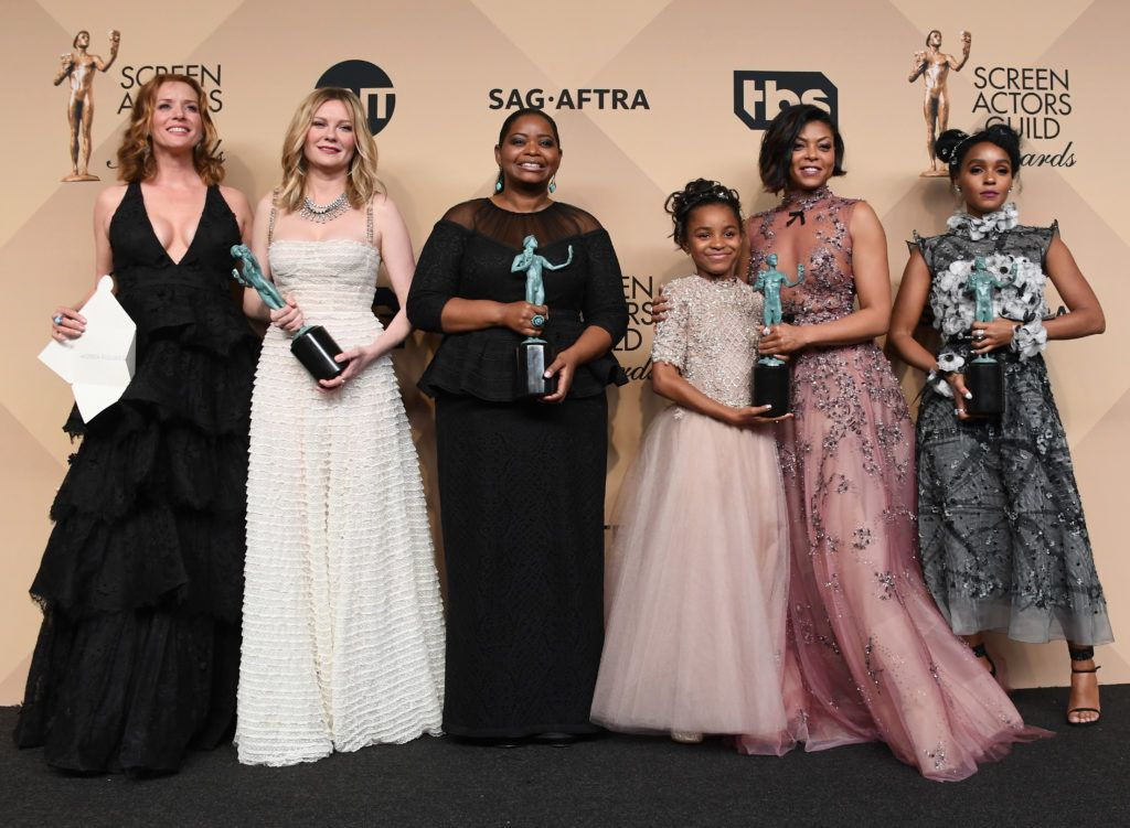 LOS ANGELES, CA - JANUARY 29:   (L-R) Actors Kimberly Quinn, Kirsten Dunst, Octavia Spencer, Saniyya Sidney, Taraji P. Henson, and Janelle Monael, co-recipients of the Outstanding Performance by a Cast in a Motion Picture award for 'Hidden Figures,' pose in the press room during the 23rd Annual Screen Actors Guild Awards at The Shrine Expo Hall on January 29, 2017 in Los Angeles, California.  (Photo by Alberto E. Rodriguez/Getty Images)