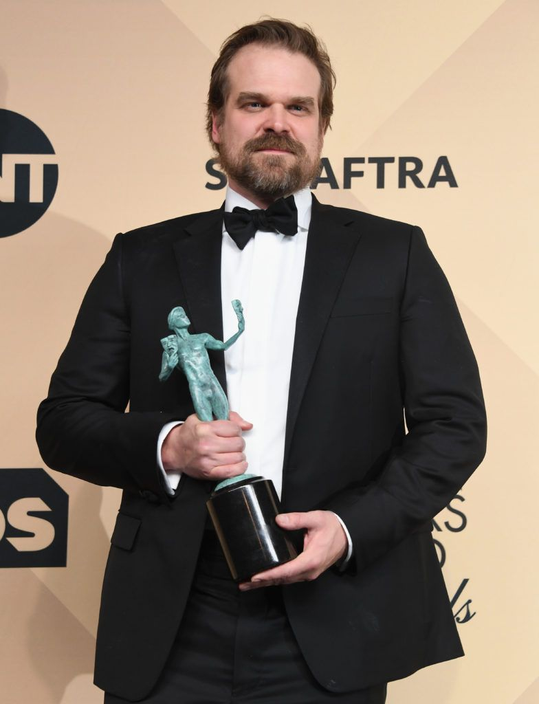 LOS ANGELES, CA - JANUARY 29:  Actor David Harbour, co-recipient of the Outstanding Performance by an Ensemble in a Drama Series award for 'Stranger Things,' poses in the press room during the 23rd Annual Screen Actors Guild Awards at The Shrine Expo Hall on January 29, 2017 in Los Angeles, California.  (Photo by Alberto E. Rodriguez/Getty Images)