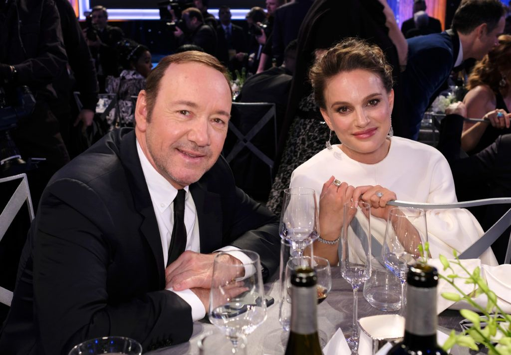 LOS ANGELES, CA - JANUARY 29:  Actors Kevin Spacey (L) and Natalie Portman pose during The 23rd Annual Screen Actors Guild Awards at The Shrine Auditorium on January 29, 2017 in Los Angeles, California. 26592_009  (Photo by Dimitrios Kambouris/Getty Images for TNT)