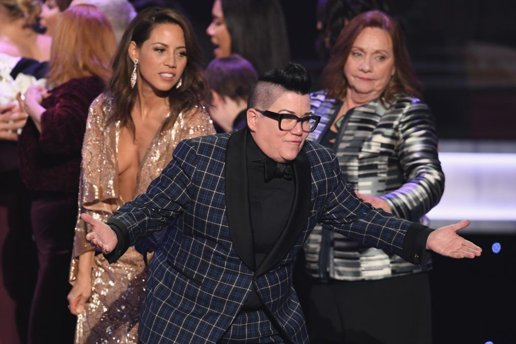 LOS ANGELES, CA - JANUARY 29:  Actor Lea DeLaria of 'Orange Is the New Black' accepts Outstanding Performance by an Ensemble in a Comedy Series onstage during The 23rd Annual Screen Actors Guild Awards at The Shrine Auditorium on January 29, 2017 in Los Angeles, California. 26592_014  (Photo by Kevin Winter/Getty Images )