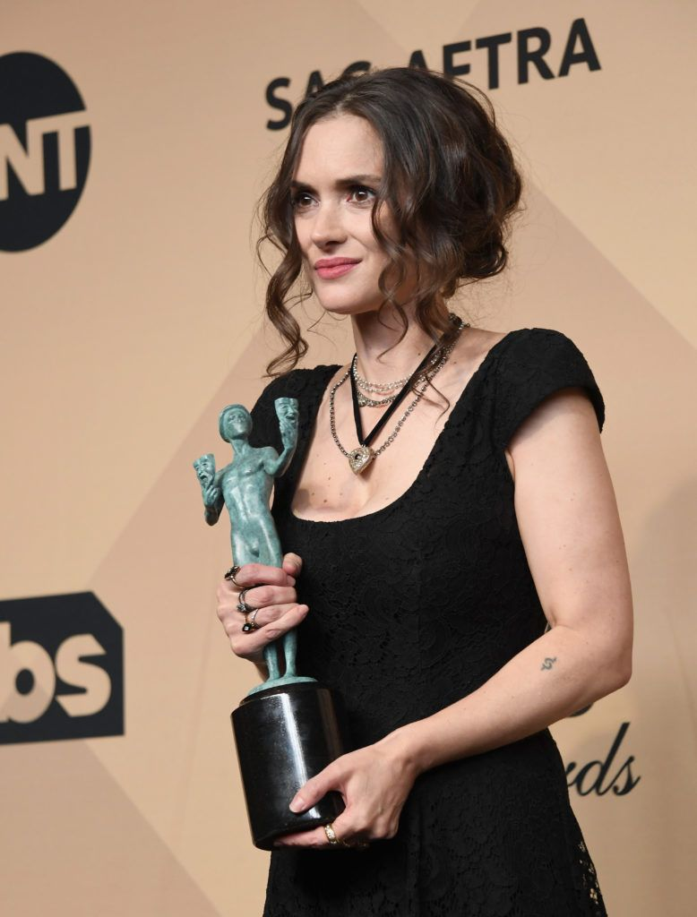LOS ANGELES, CA - JANUARY 29:  Actor Winona Ryder, co-recipient of the Outstanding Performance by an Ensemble in a Drama Series award for 'Stranger Things,' poses in the press room during the 23rd Annual Screen Actors Guild Awards at The Shrine Expo Hall on January 29, 2017 in Los Angeles, California.  (Photo by Alberto E. Rodriguez/Getty Images)