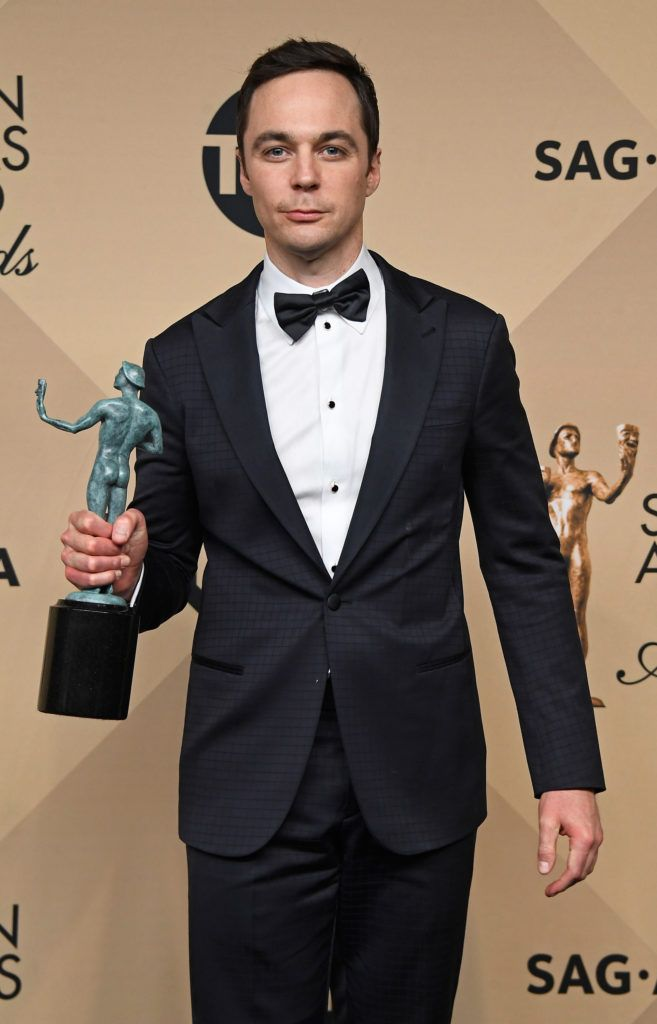 LOS ANGELES, CA - JANUARY 29:  Actor Jim Parsons, co-recipient of the Outstanding Performance by a Cast in a Motion Picture award for 'Hidden Figures,' poses in the press room during The 23rd Annual Screen Actors Guild Awards at The Shrine Auditorium on January 29, 2017 in Los Angeles, California. 26592_008  (Photo by Frazer Harrison/Getty Images)