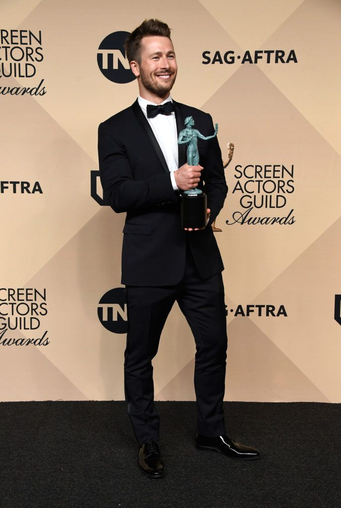 LOS ANGELES, CA - JANUARY 29:  Actor Glen Powell, co-recipient of the Outstanding Performance by a Cast in a Motion Picture award for 'Hidden Figures,' poses in the press room during The 23rd Annual Screen Actors Guild Awards at The Shrine Auditorium on January 29, 2017 in Los Angeles, California. 26592_008  (Photo by Frazer Harrison/Getty Images)