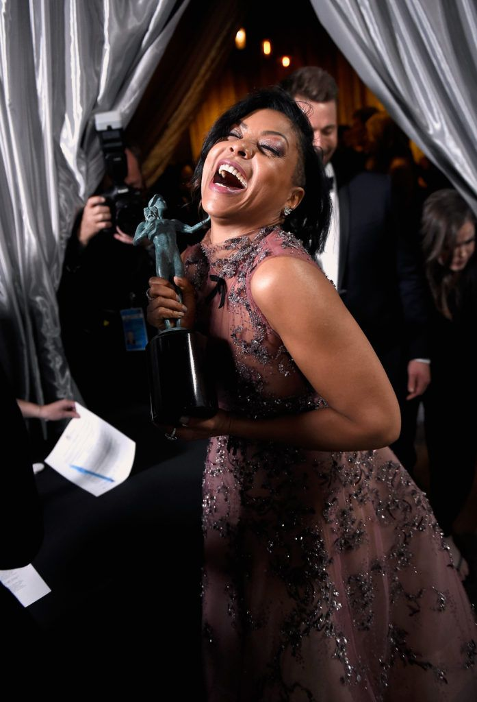 LOS ANGELES, CA - JANUARY 29:  Actor Taraji P. Henson, co-recipient of the Outstanding Performance by a Cast in a Motion Picture award for 'Hidden Figures,' poses in the press room during The 23rd Annual Screen Actors Guild Awards at The Shrine Auditorium on January 29, 2017 in Los Angeles, California. 26592_017  (Photo by Matt Winkelmeyer/Getty Images for TNT)