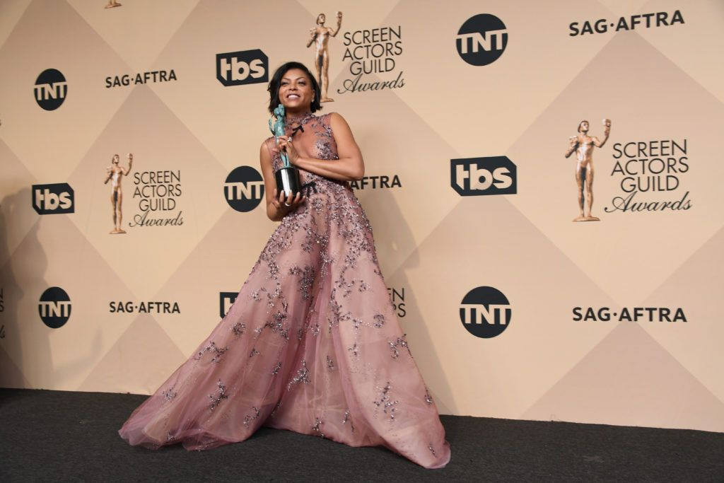 LOS ANGELES, CA - JANUARY 29:  ActorTaraji P. Henson co-recipient of the Outstanding Performance by a Cast in a Motion Picture award for 'Hidden Figures,' poses in the press room during the 23rd Annual Screen Actors Guild Awards at The Shrine Expo Hall on January 29, 2017 in Los Angeles, California.  (Photo by Alberto E. Rodriguez/Getty Images)