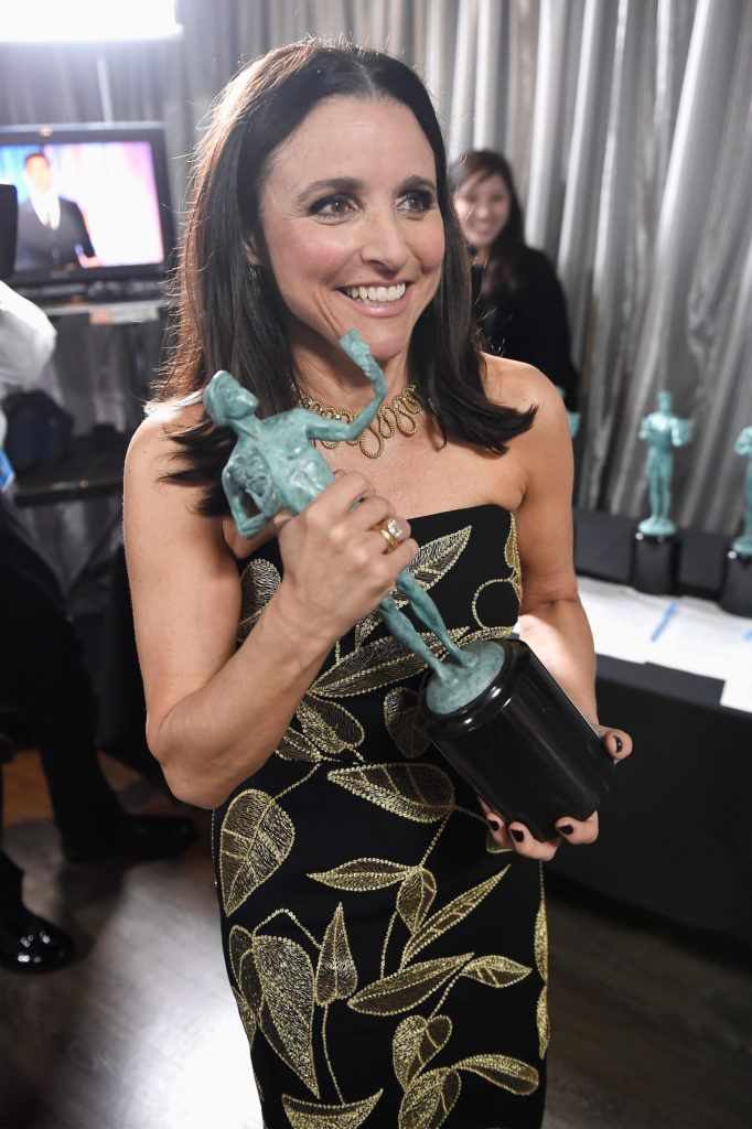 LOS ANGELES, CA - JANUARY 29:  Actress Julia Louis-Dreyfus poses in the press room with the award for Best Female Actor in a Comedy Series for 'Veep' during The 23rd Annual Screen Actors Guild Awards at The Shrine Auditorium on January 29, 2017 in Los Angeles, California. 26592_017  (Photo by Matt Winkelmeyer/Getty Images for TNT)