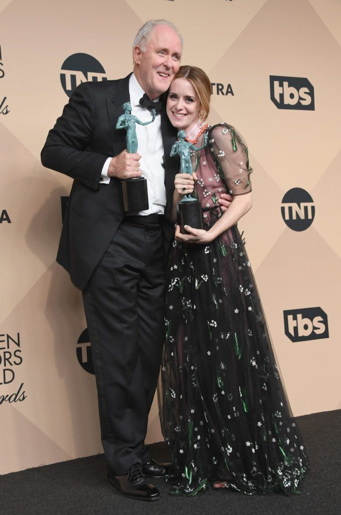 LOS ANGELES, CA - JANUARY 29:  Actor John Lithgow (L), winner of the Outstanding Male Actor in a Drama Series for 'The Crown,' and actor Claire Foy, winner of the Outstanding Female Actor in a Drama Series award for 'The Crown,'pose in the press room during the 23rd Annual Screen Actors Guild Awards at The Shrine Expo Hall on January 29, 2017 in Los Angeles, California.  (Photo by Alberto E. Rodriguez/Getty Images)