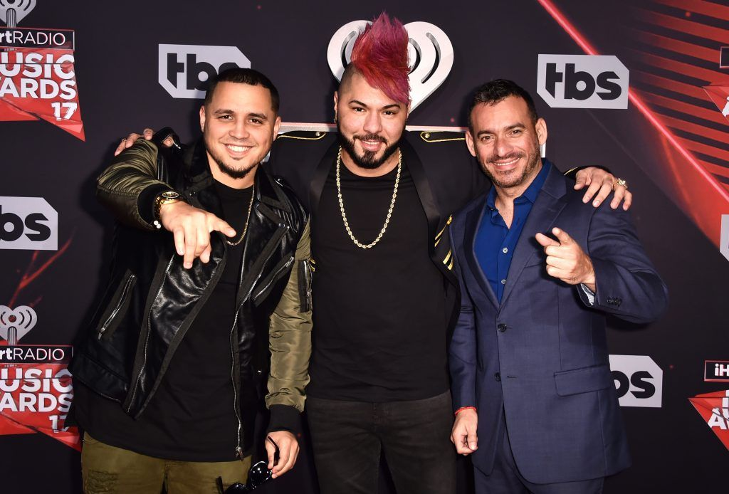 (L-R) DJ's IAmChino, Chacal and Jorge Gomez attend the 2017 iHeartRadio Music Awards which broadcast live on Turner's TBS, TNT, and truTV at The Forum on March 5, 2017 in Inglewood, California.  (Photo by Alberto E. Rodriguez/Getty Images)