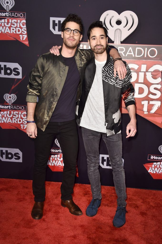 Musicians Darren Criss (L) and Chuck Criss of Computer Games attend the 2017 iHeartRadio Music Awards which broadcast live on Turner's TBS, TNT, and truTV at The Forum on March 5, 2017 in Inglewood, California.  (Photo by Alberto E. Rodriguez/Getty Images)