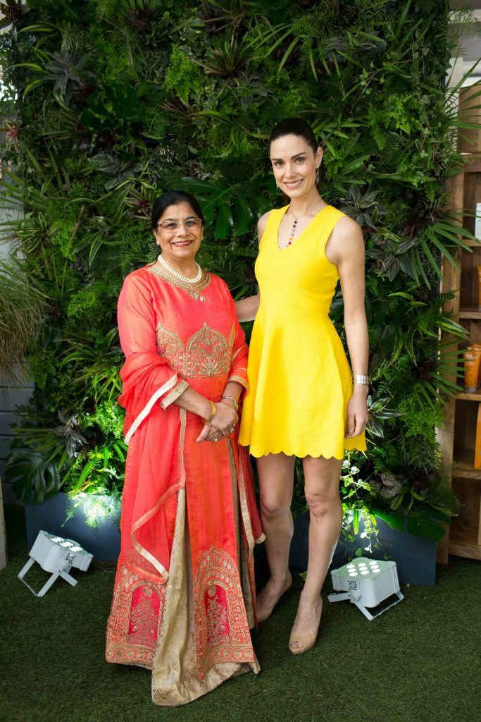 Rita Shah and Alison Canavan  pictured at the launch of the Urban Veda natural skincare range in Ireland at House Dublin, Lower Leeson St. Photo by Richie Stokes