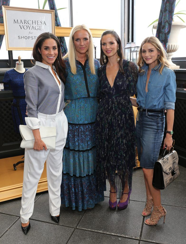 Meghan Markle, fashion designers  Keren Craig and Georgina Chapman of Marchesa, and Olivia Palermo attend an exclusive preview of the Marchesa Voyage for ShopStyle collection on September 5, 2014 in New York City.  (Photo by Neilson Barnard/Getty Images for ShopStyle)